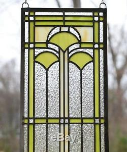 10 x 35.25 Handcrafted Ginkgo stained glass window panel