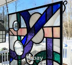12x20 Leaded Stained Glass panel Abstract linear and circular! Multi-colors