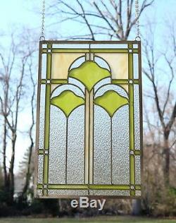 15.25 x 22.75 Handcrafted Ginkgo style stained glass window panel