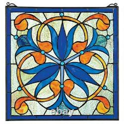 17 x 17 Blue Floral Orchids Tiffany Style Stained Glass Window Panel