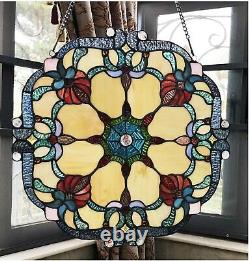 18 Rosalie Tiffany Style Stained Glass Window Panel