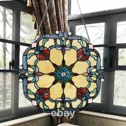 18 W Stained Glass Window Panel Victorian Tiffany Style Round