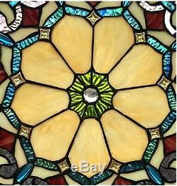 18 x 18 Victorian Blossom Tiffany Style Stained Glass Window Panel