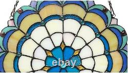 18 x 18 Victorian Starlight Tiffany Style Stained Glass Window Panel