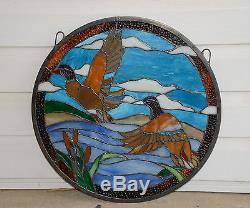 19.75 Dia TWO MALLARD DUCKS Round Handcrafted Stained Glass Suncatcher Panel