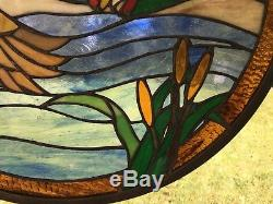 19.75 Round Tiffany Style Stained Glass Suncatcher Panel TWO MALLARD DUCKS