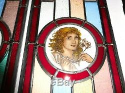 1930 Stained Glass Door Panels Or Sidelights Hand Painted Classic Maidens