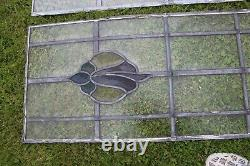 2 Antique/vintage Reclaimed Stained & Textured Glass Window Panels 43x 19 Inches