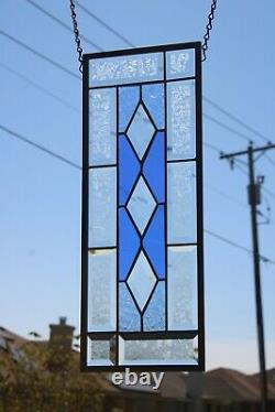 2 Blue's Beveled Stained Glass Window Panel, Ready to Hang 19 1/2 X 7 1/2