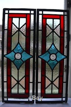 2 British leaded light stained glass window panels R826l. WORLDWIDE DELIVERY