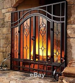 2-Door Floral Fireplace Screen with Beveled Glass Panels in Black