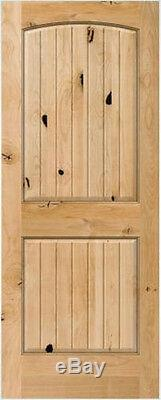 2 Panel Arch Top Knotty Alder Raised V-Groove Solid Core Interior Wood Doors 6'8
