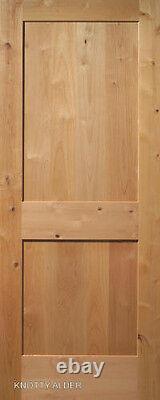 2 Panel Flat Shaker Knotty Alder Stain Grade Solid Core Interior Wood Door Doors