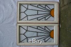 2 art deco stained glass leaded light window panels. R871 DELIVERY OPTIONS