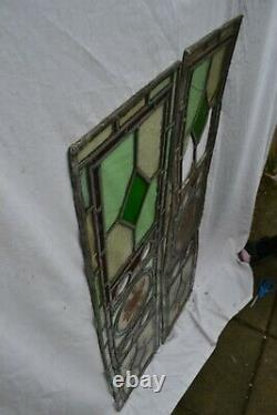 2 leaded light stained glass window panels for restoration/parts. S1093