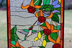 20.25 x 34 Large Handcrafted stained glass window panel Hummingbirds & Flowers