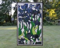20.5 x 34.5 Handcrafted stained glass window panel Iris Flowers