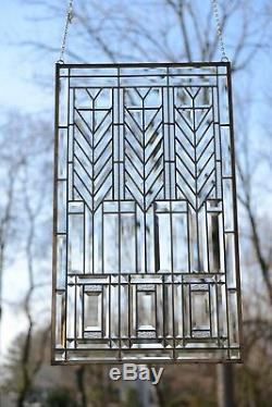 20.5 x 34.5 Stained Beveled clear window panel FRANK LLOYD WRIGHT TREE OF LIFE