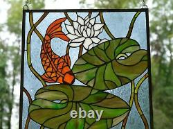 20.5 x 34.75 Fish Play under Lotus Tiffany Style stained glass window panel