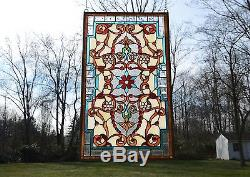 20.5W x 34.75H Tiffany Style Jeweled stained glass window panel