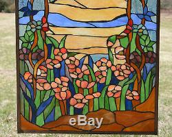 20.75 x 34.5 Tiffany Style stained glass window panel Orange Dawn in Valley