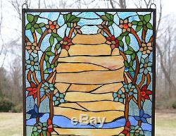 20.75 x 34.50 Tiffany Style stained glass window panel Desert Dawn