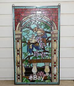 20.75 x 35 Handcrafted stained glass window panel Love Birds Two Parrots