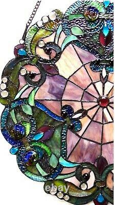 20 Pure VIctorian Tiffany Style Stained Glass Window Panel With Chain