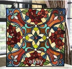 20 x 20 Round Amber Delight Tiffany Style Stained Glass Window Panel