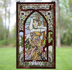 20 x 34 Alphonse Mucha Daytime ART, Stained Glass Window Panel