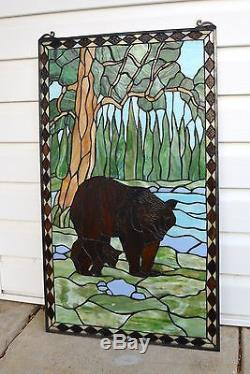 20 x 34 Bear Mother and Son Tiffany Style stained glass window panel