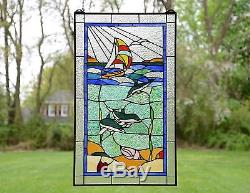 20 x 34 Dolphin Boat Seashore Beach Tiffany Style stained glass window panel