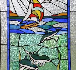 20 x 34 Dolphin Boat Shell Seashore Tiffany Style stained glass window panel