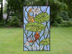 20 x 34 Fish Play under Lotus Leaf Tiffany Style stained glass window panel