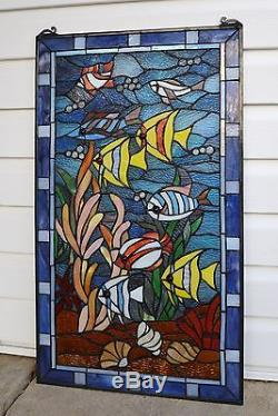 20 x 34 Fish under the Sea Tiffany Style stained glass window panel
