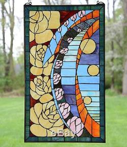 20 x 34 Flowers Tiffany Style stained glass window panel