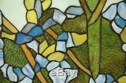 20 x 34 Handcrafted stained glass window panel 2 parrots birds