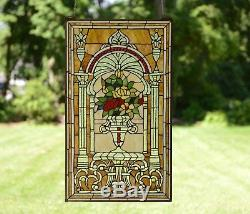 20 x 34 Large Flower in vase Tiffany Style stained glass Jeweled window panel