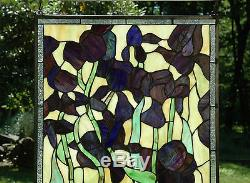 20 x 34 Large Handcrafted Tiffany Style stained glass window panel Iris flower
