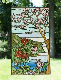 20 x 34 Large Handcrafted stained glass Jeweled window panel Cherry Blossom