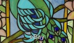 20 x 34 Large Handcrafted stained glass peacock window panel