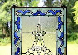 20 x 34 Large Tiffany Style stained glass Beveled window panel