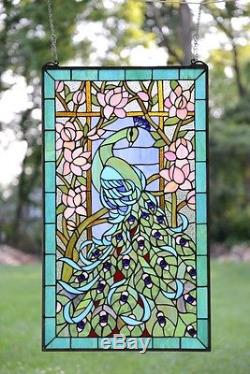20 x 34 Large Tiffany Style stained glass peacock window panel