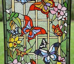 20 x 34 Large Tiffany Style stained glass window panel Butterfly Garden Flower