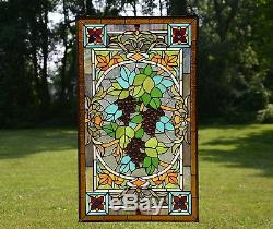20 x 34 Large Tiffany Style stained glass window panel Grape With Vine
