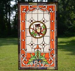 20 x 34 Large Tiffany Style stained glass window panel owl