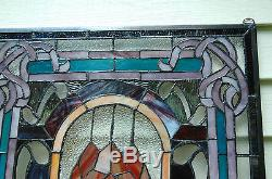 20 x 34 Lg Home Decor Tiffany Style stained glass window panel Big Rose flower