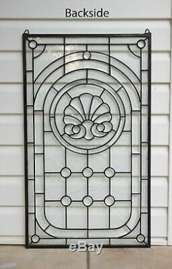 20 x 34 Stunning Handcrafted All Clear stained glass Beveled window panel