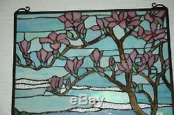 20 x 34 Tiffany Style stained glass Jeweled window panel Cherry Blossom