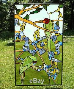 20 x 34 Tiffany Style stained glass window panel 2 parrots birds on the tree